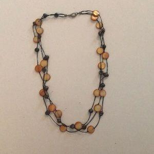 Goldish Amber Shimmery beaded necklace